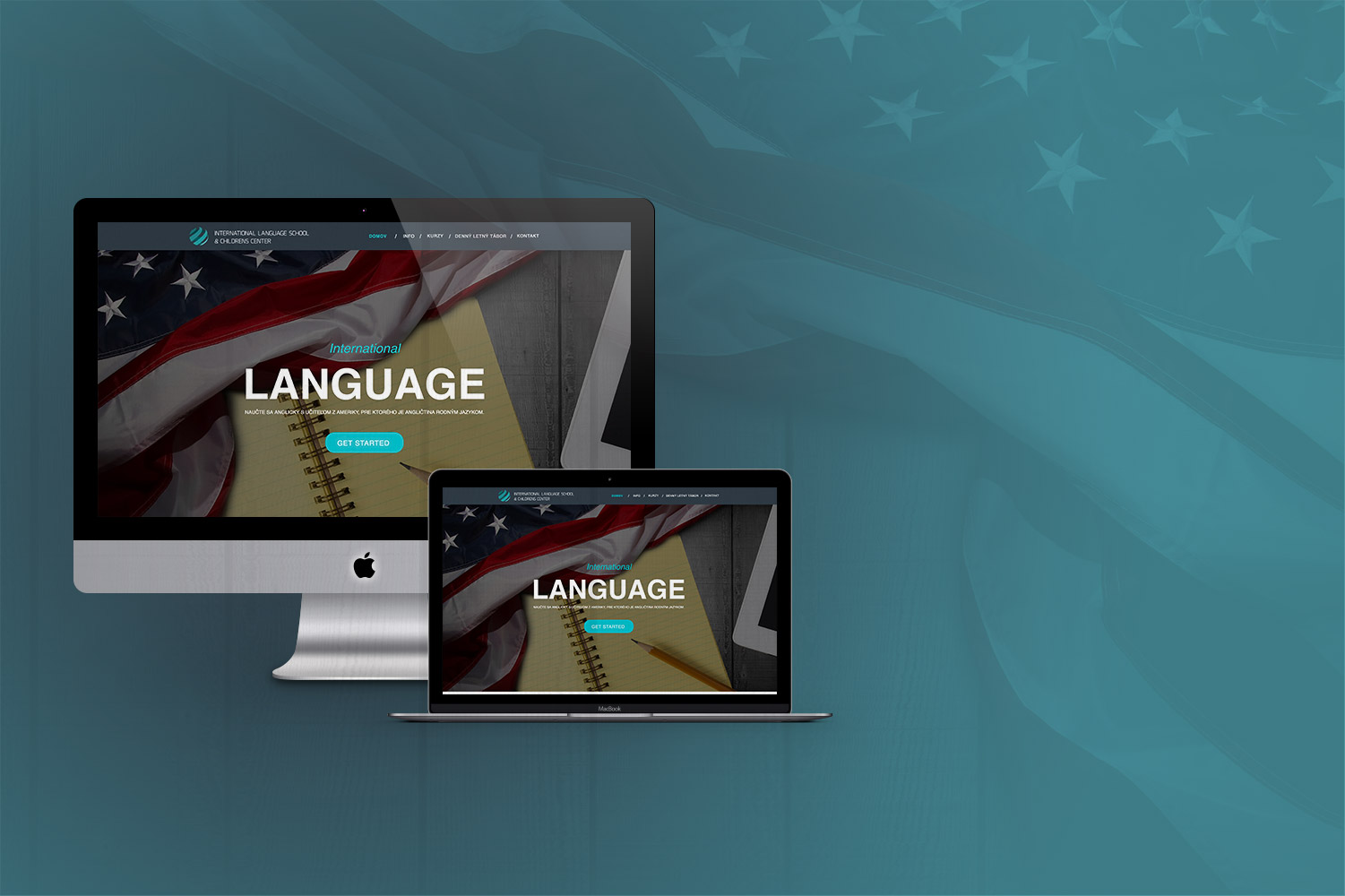 Language school, logo and web design image